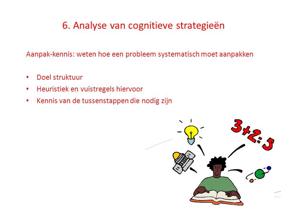 6. Analyse van cognitieve strategieën Aanpak-kennis: weten hoe een probleem systematisch moet aanpakken • Doel struktuur • Heuristiek en vuistregels h