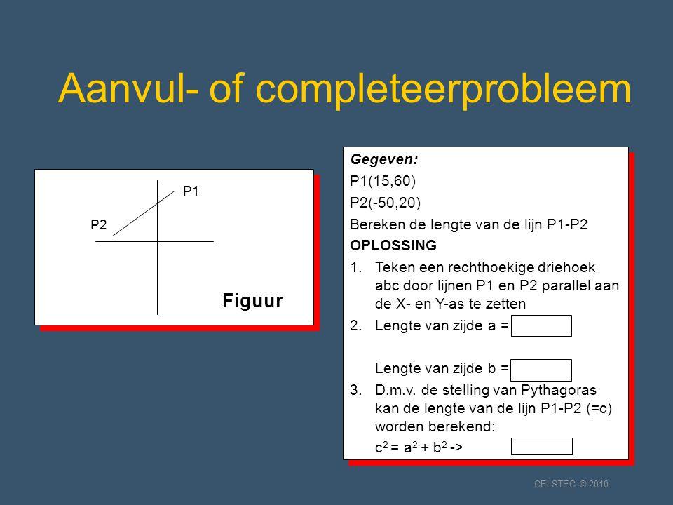 Aanvul- of completeerprobleem Gegeven: P1(15,60) P2(-50,20) Bereken de lengte van de lijn P1-P2 OPLOSSING 1.