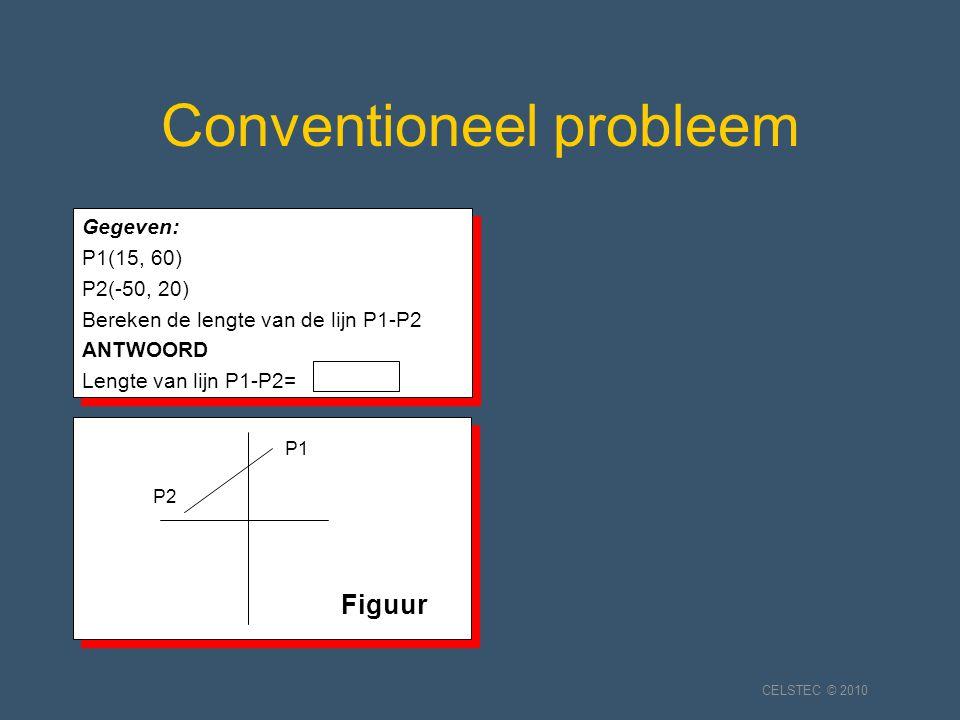 Conventioneel probleem Gegeven: P1(15, 60) P2(-50, 20) Bereken de lengte van de lijn P1-P2 ANTWOORD Lengte van lijn P1-P2= Gegeven: P1(15, 60) P2(-50, 20) Bereken de lengte van de lijn P1-P2 ANTWOORD Lengte van lijn P1-P2= P2 P1 Figuur CELSTEC © 2010