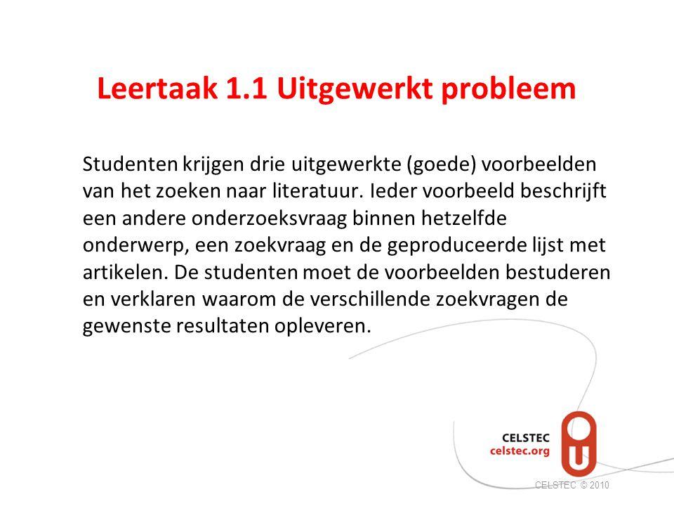 Leertaak 1.1 Uitgewerkt probleem Studenten krijgen drie uitgewerkte (goede) voorbeelden van het zoeken naar literatuur.