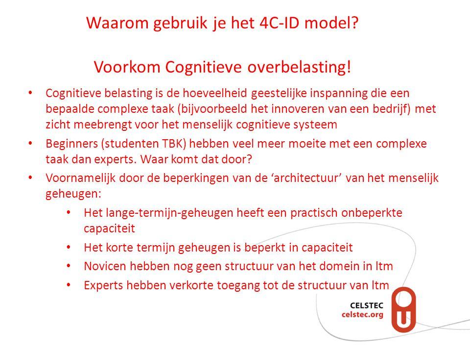 Waarom gebruik je het 4C-ID model.Voorkom Cognitieve overbelasting.