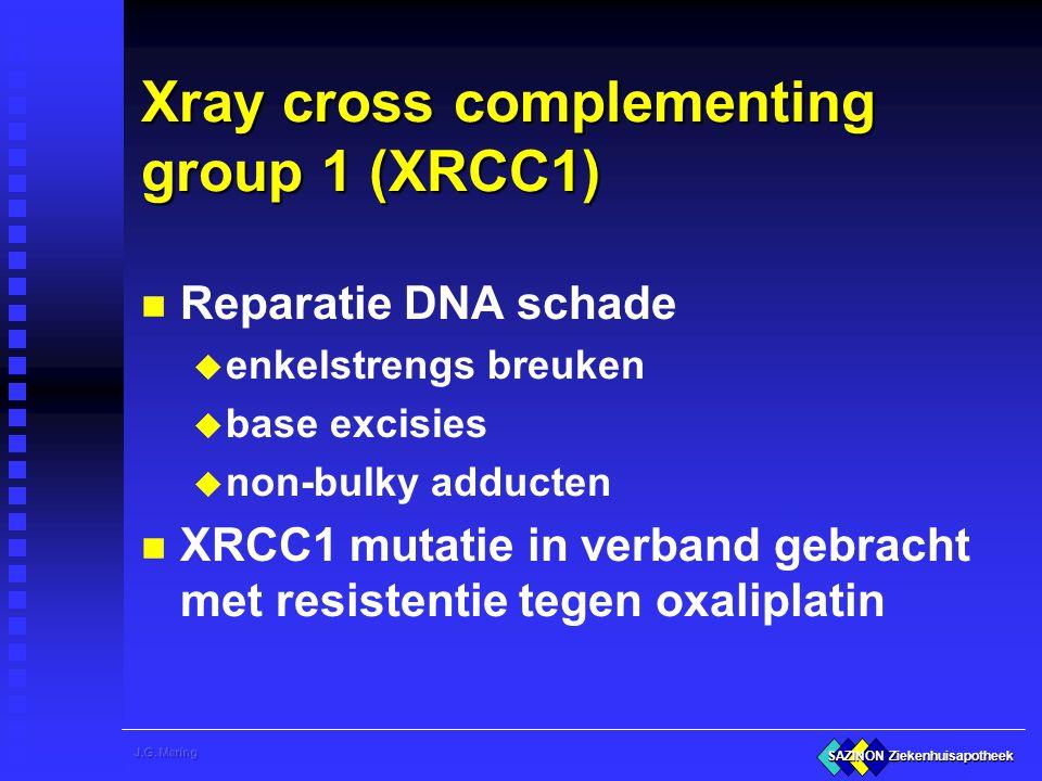 SAZINON Ziekenhuisapotheek Xray cross complementing group 1 (XRCC1) n Reparatie DNA schade u enkelstrengs breuken u base excisies u non-bulky adducten