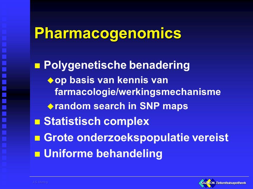 SAZINON Ziekenhuisapotheek Pharmacogenomics n Polygenetische benadering u op basis van kennis van farmacologie/werkingsmechanisme u random search in S