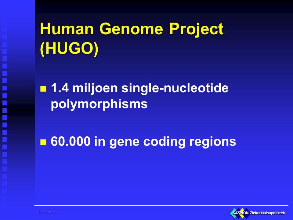 SAZINON Ziekenhuisapotheek Genetica en geneesmiddelen n Klassiek: Pharmacogenetics u verband tussen een of enkele SNP's en PK/PD gedrag n Modern: Pharmacogenomics u wisselwerking van diverse genprodukten in relatie tot PK en PD