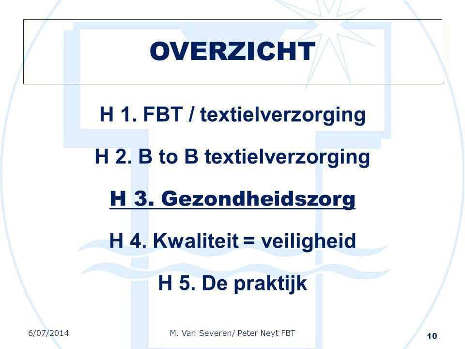 OVERZICHT H 1. FBT / textielverzorging H 2. B to B textielverzorging H 3. Gezondheidszorg H 4. Kwaliteit = veiligheid H 5. De praktijk 10 6/07/2014M.