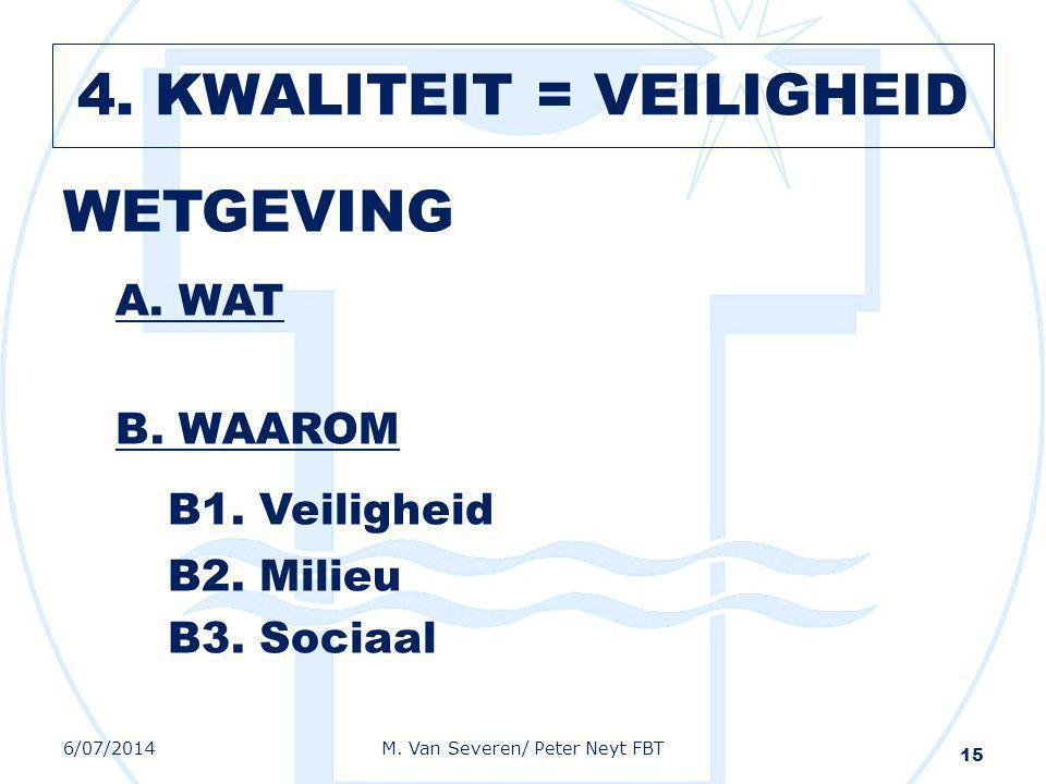 WETGEVING A. WAT B. WAAROM B1. Veiligheid B2. Milieu B3. Sociaal 15 6/07/2014M. Van Severen/ Peter Neyt FBT 4. KWALITEIT = VEILIGHEID