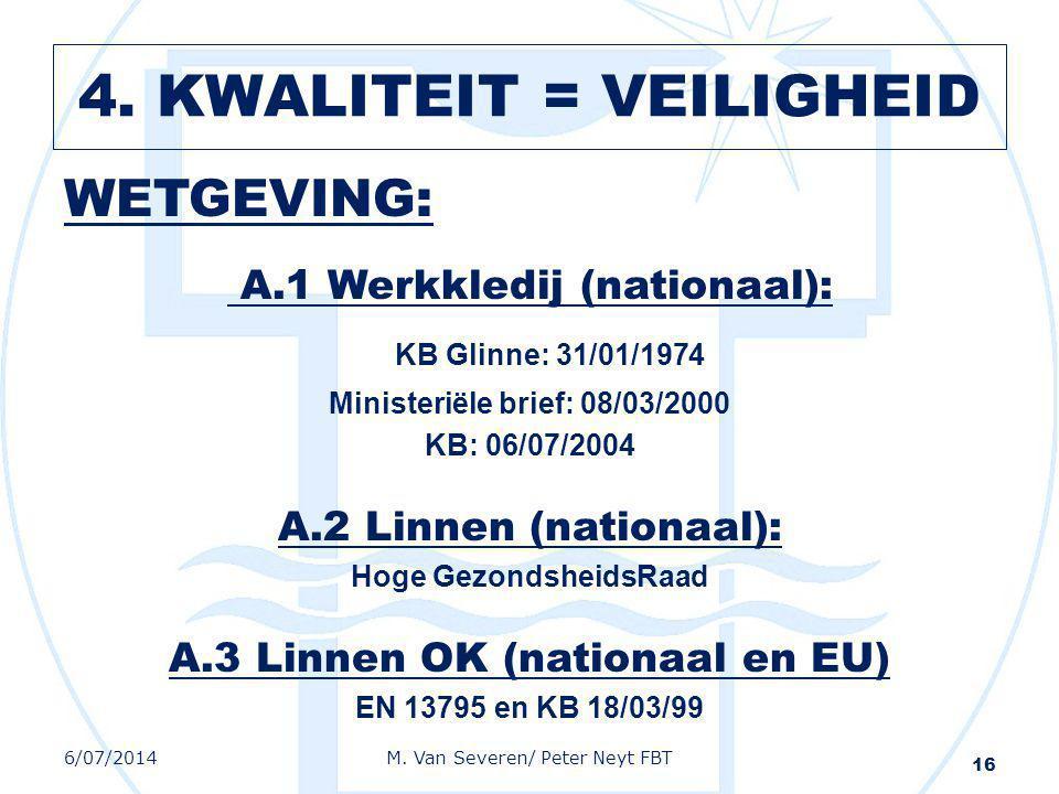WETGEVING: A.1 Werkkledij (nationaal): KB Glinne: 31/01/1974 Ministeriële brief: 08/03/2000 KB: 06/07/2004 A.2 Linnen (nationaal): Hoge GezondsheidsRa