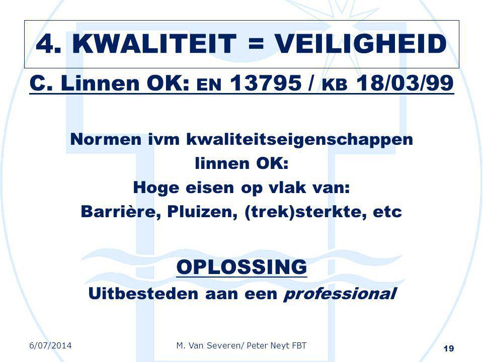 C. Linnen OK: EN 13795 / KB 18/03/99 Normen ivm kwaliteitseigenschappen linnen OK: Hoge eisen op vlak van: Barrière, Pluizen, (trek)sterkte, etc OPLOS