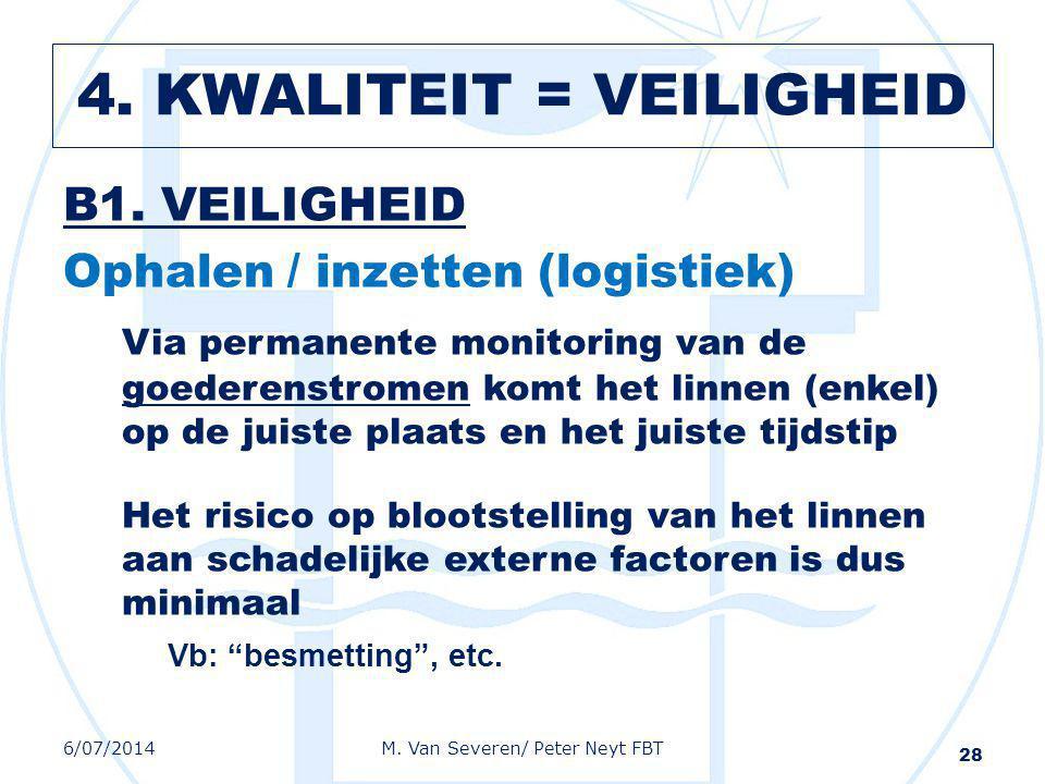 B1. VEILIGHEID Ophalen / inzetten (logistiek) Via permanente monitoring van de goederenstromen komt het linnen (enkel) op de juiste plaats en het juis