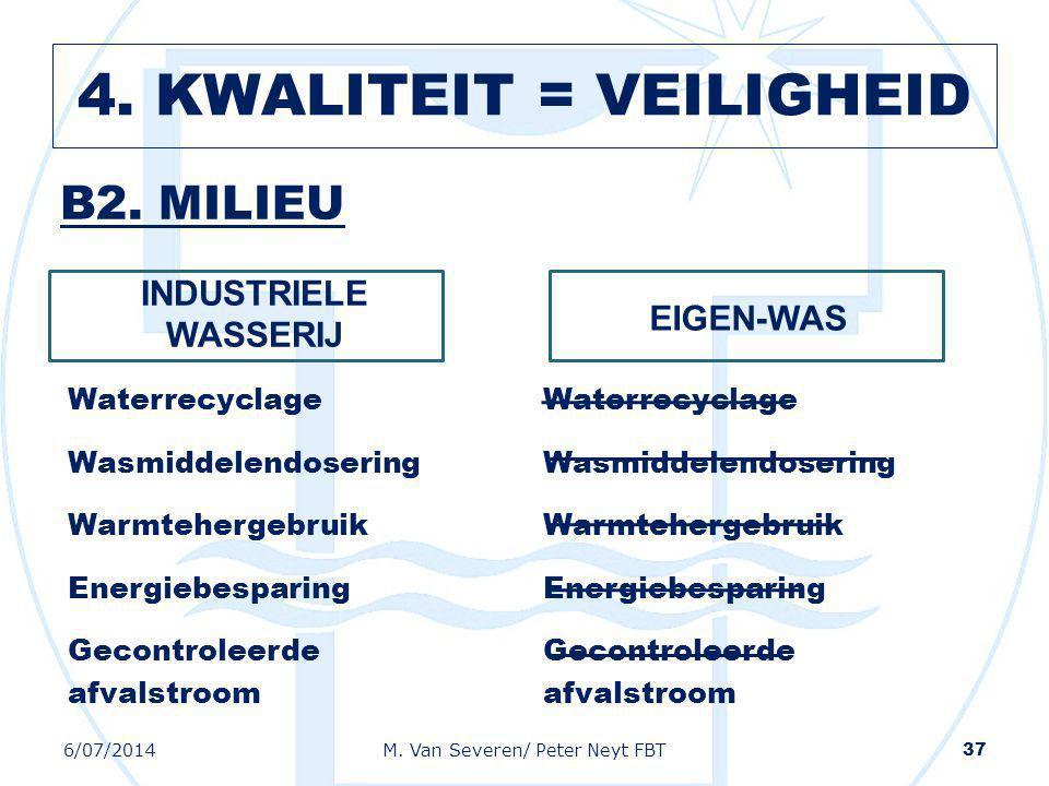 B2. MILIEU INDUSTRIELE WASSERIJ Waterrecyclage Wasmiddelendosering Warmtehergebruik Energiebesparing Gecontroleerde afvalstroom EIGEN-WAS Waterrecycla