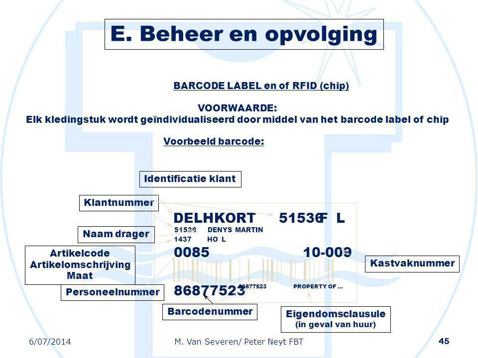 6/07/2014M. Van Severen/ Peter Neyt FBT 45 DELHKORT 51536 DENYS MARTIN 86877523 PROPERTY OF … 51536FL 1437 HOL 008510-009 86877523 BARCODE LABEL en of
