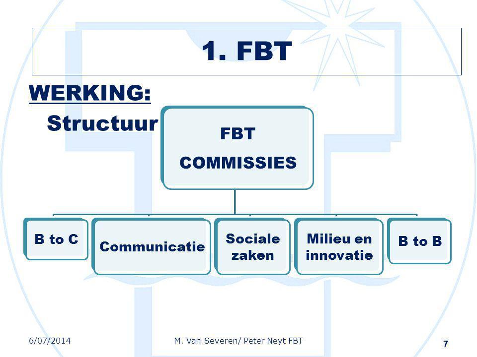 WERKING: Structuur 7 FBT COMMISSIES B to C Communicatie Sociale zaken Milieu en innovatie B to B 6/07/2014M. Van Severen/ Peter Neyt FBT 1. FBT