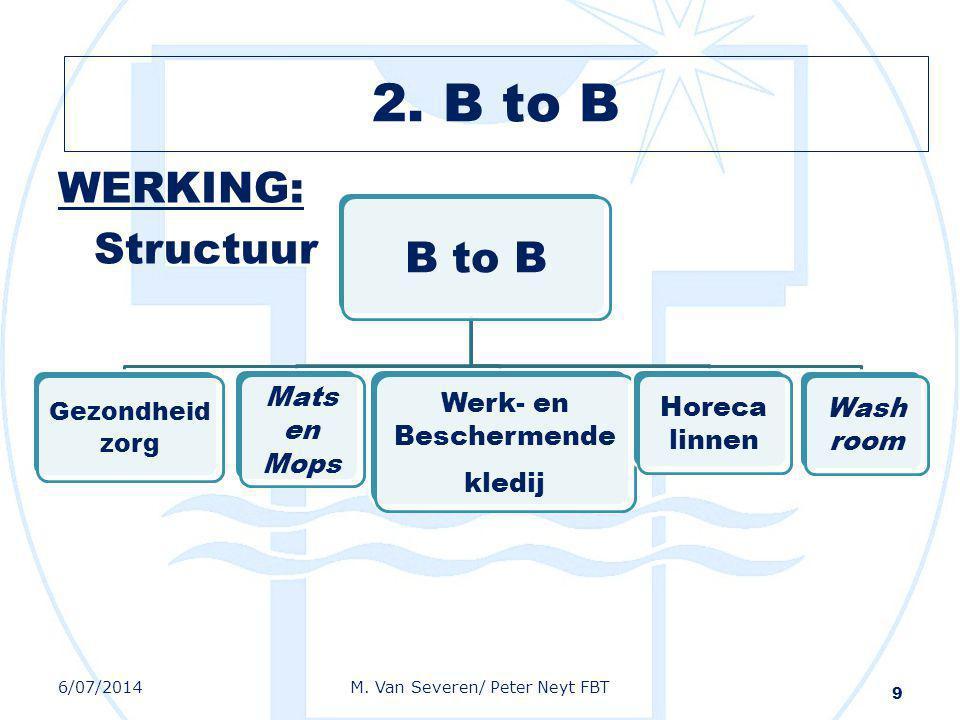 WERKING: Structuur 9 B to B Gezondheid zorg Mats en Mops Werk- en Beschermende kledij Horeca linnen Wash room 6/07/2014M. Van Severen/ Peter Neyt FBT
