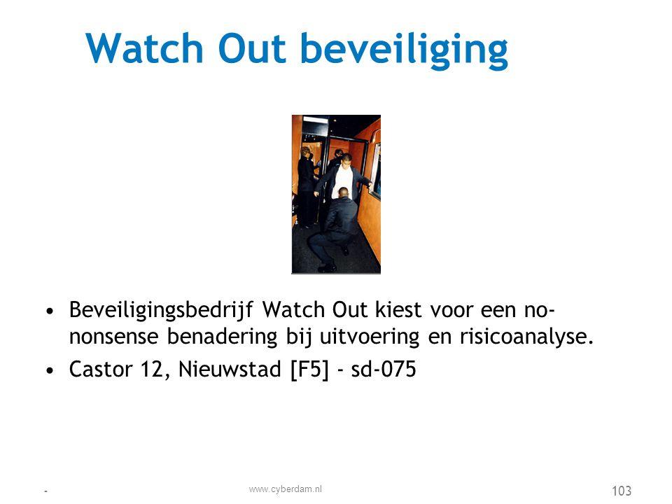 Werkgroep OS •De bedrijven rond het spoor hebben de handen ineengeslagen in de werkgroep Ondernemers Spoorzone (OS) •Spoorberm 32, Spoorwijk [E5] - sd-090 www.cyberdam.nl -104
