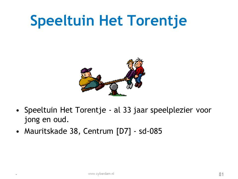 Speeltuinvereniging Piet Hein •Speeltuinvereniging Piet Hein wil een veilige speelomgeving dicht bij huis bieden aan alle buurtkinderen •Kempenaar 43, De Dokken [G8] - sd-107 www.cyberdam.nl -82