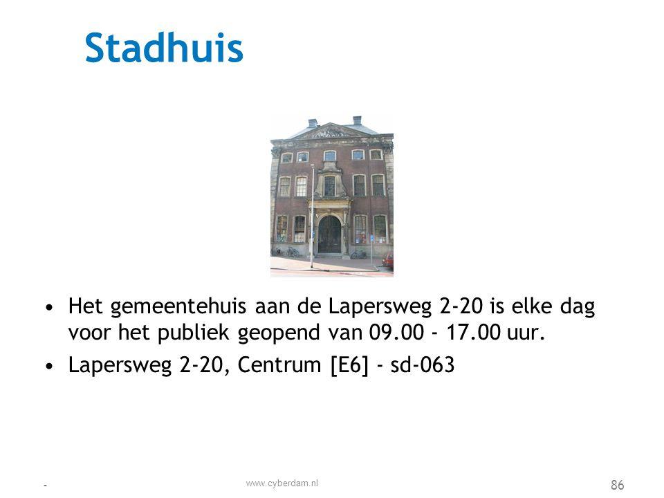 Stadsdeelkantoor Centrum •Het stadsdeelkantoor Centrum vormt de verbindende schakel tussen de gemeente en u als bewoner •Botter 22, De Dokken [H7] - sd-110 www.cyberdam.nl -87