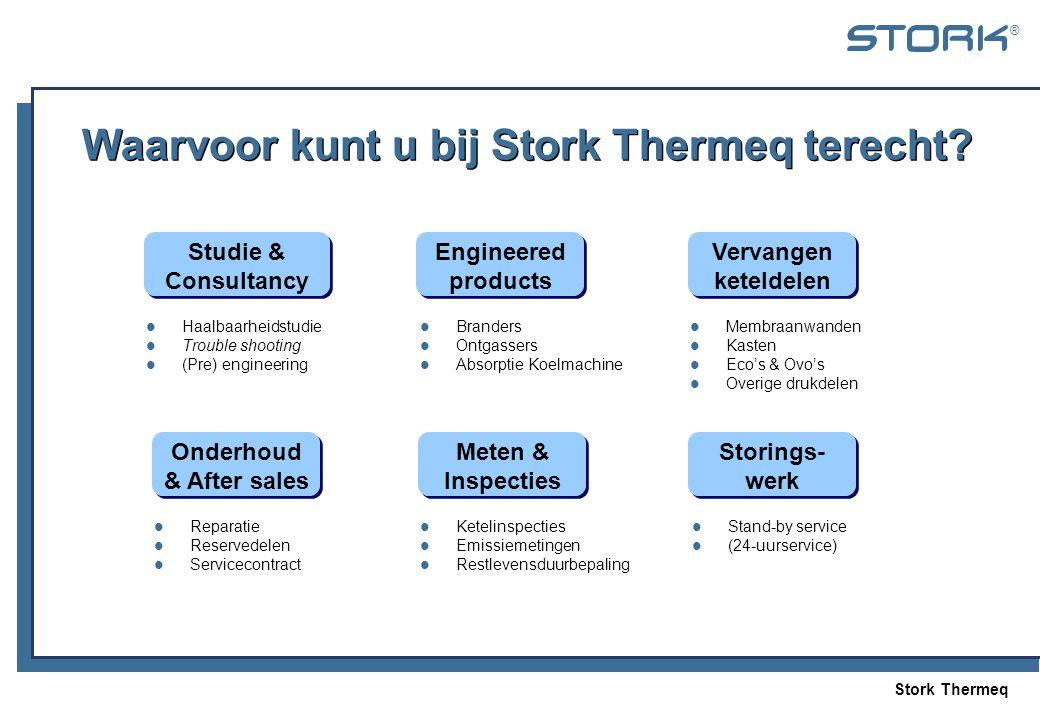 Stork Thermeq ® Waarvoor kunt u bij Stork Thermeq terecht? Storings- werk Studie & Consultancy Meten & Inspecties Vervangen keteldelen Onderhoud & Aft