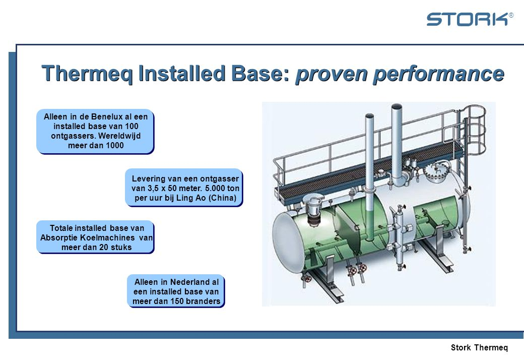 Stork Thermeq ® Thermeq Installed Base: proven performance Alleen in Nederland al een installed base van meer dan 150 branders Alleen in de Benelux al een installed base van 100 ontgassers.
