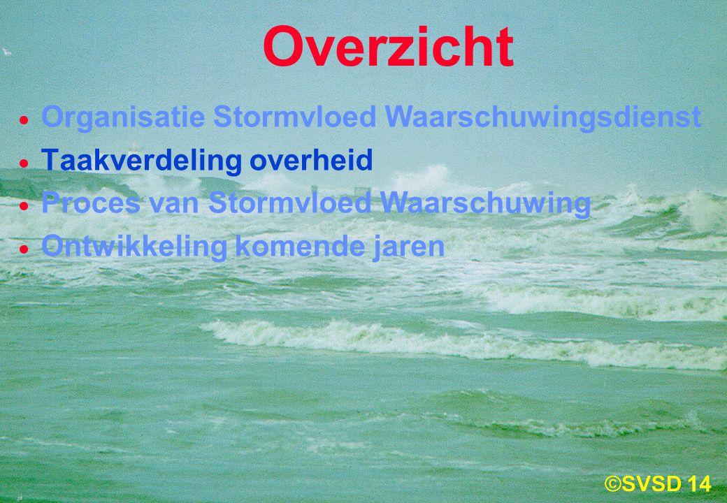 14  Organisatie Stormvloed Waarschuwingsdienst  Taakverdeling overheid  Proces van Stormvloed Waarschuwing  Ontwikkeling komende jaren Overzicht