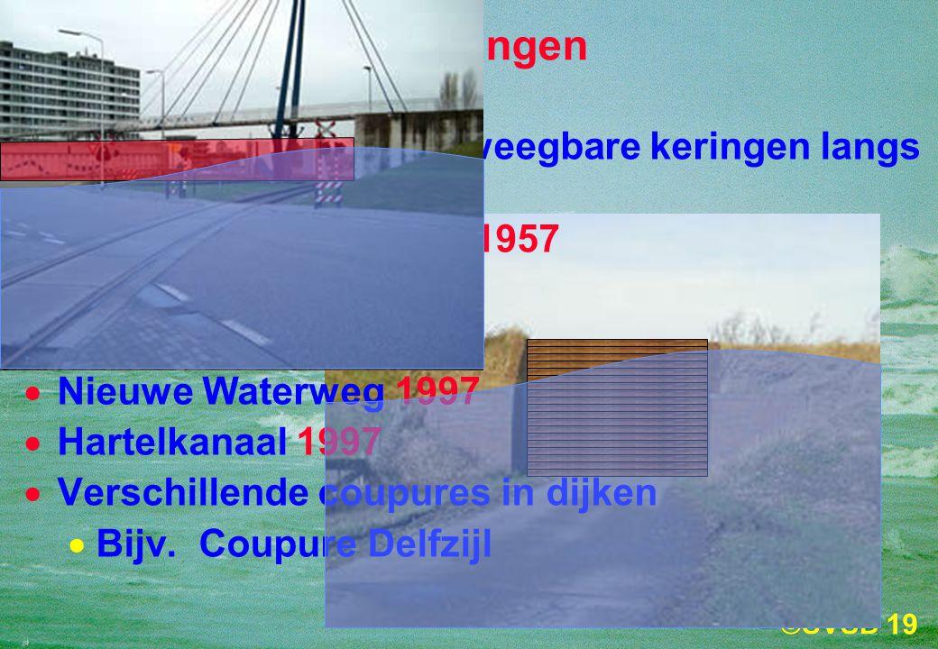 19 Stormvloedkeringen Er zijn verschillende beweegbare keringen langs de Nederlandse kust:  Krimpen aan de IJssel 1957  Haringvliet 1970  Oosterschelde 1986  Nieuwe Waterweg 1997  Hartelkanaal 1997  Verschillende coupures in dijken  Bijv.