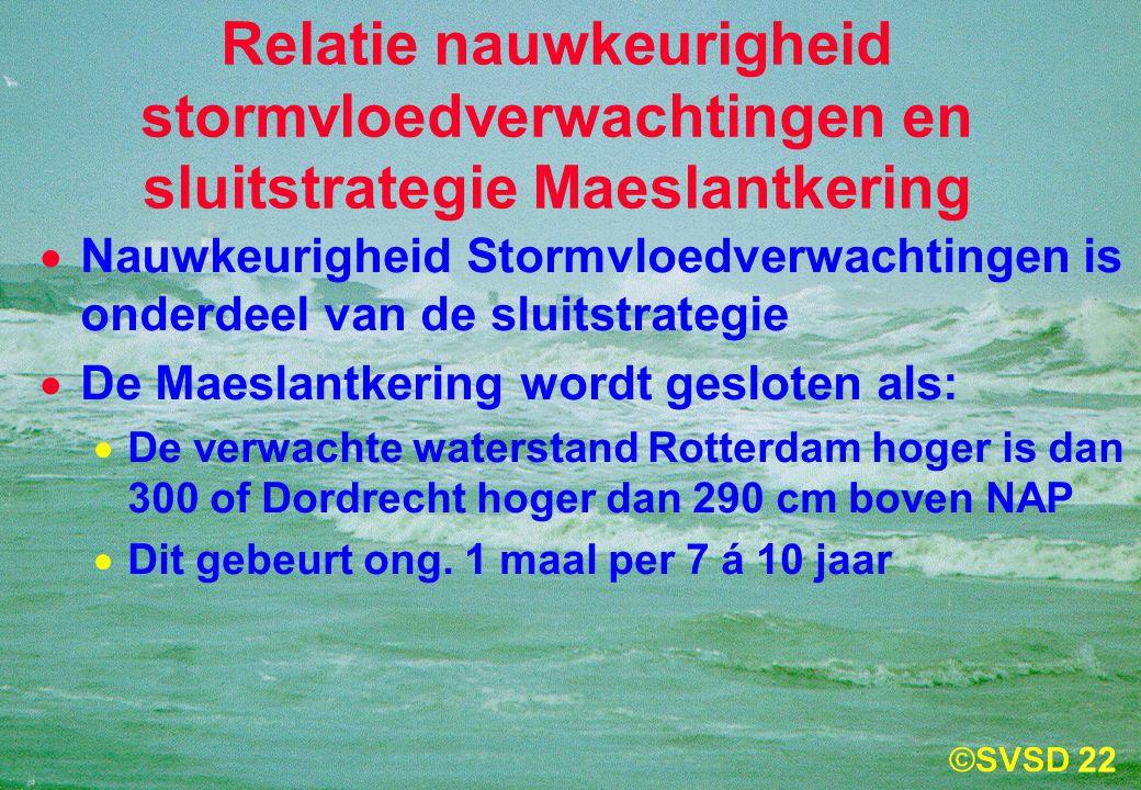 22 Relatie nauwkeurigheid stormvloedverwachtingen en sluitstrategie Maeslantkering  Nauwkeurigheid Stormvloedverwachtingen is onderdeel van de sluitstrategie  De Maeslantkering wordt gesloten als:  De verwachte waterstand Rotterdam hoger is dan 300 of Dordrecht hoger dan 290 cm boven NAP  Dit gebeurt ong.
