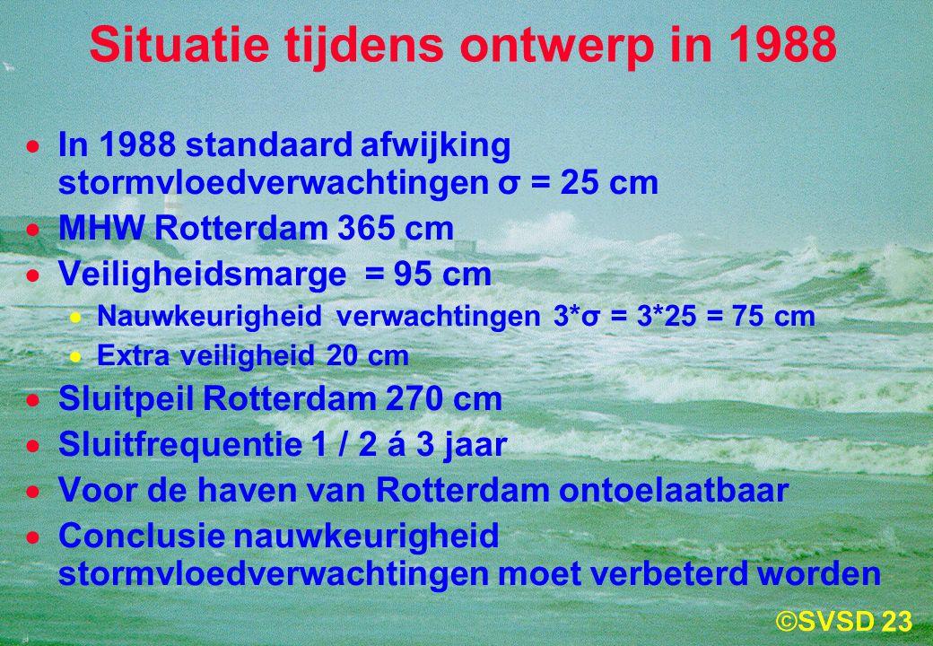 23 Situatie tijdens ontwerp in 1988  In 1988 standaard afwijking stormvloedverwachtingen σ = 25 cm  MHW Rotterdam 365 cm  Veiligheidsmarge = 95 cm  Nauwkeurigheid verwachtingen 3*σ = 3*25 = 75 cm  Extra veiligheid 20 cm  Sluitpeil Rotterdam 270 cm  Sluitfrequentie 1 / 2 á 3 jaar  Voor de haven van Rotterdam ontoelaatbaar  Conclusie nauwkeurigheid stormvloedverwachtingen moet verbeterd worden