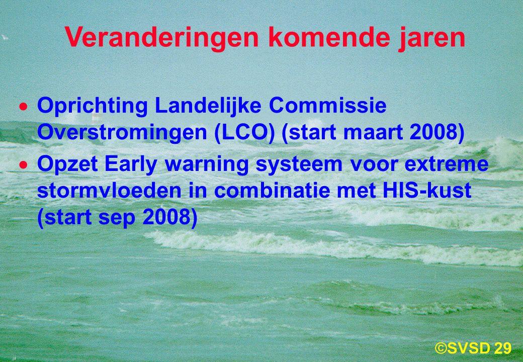29 Veranderingen komende jaren  Oprichting Landelijke Commissie Overstromingen (LCO) (start maart 2008)  Opzet Early warning systeem voor extreme stormvloeden in combinatie met HIS-kust (start sep 2008)