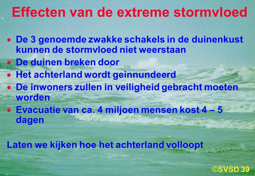 39  De 3 genoemde zwakke schakels in de duinenkust kunnen de stormvloed niet weerstaan  De duinen breken door  Het achterland wordt geinnundeerd  De inwoners zullen in veiligheid gebracht moeten worden  Evacuatie van ca.