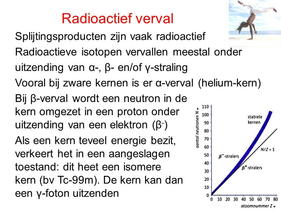 Radioactief verval Splijtingsproducten zijn vaak radioactief Radioactieve isotopen vervallen meestal onder uitzending van α-, β- en/of γ-straling Voor