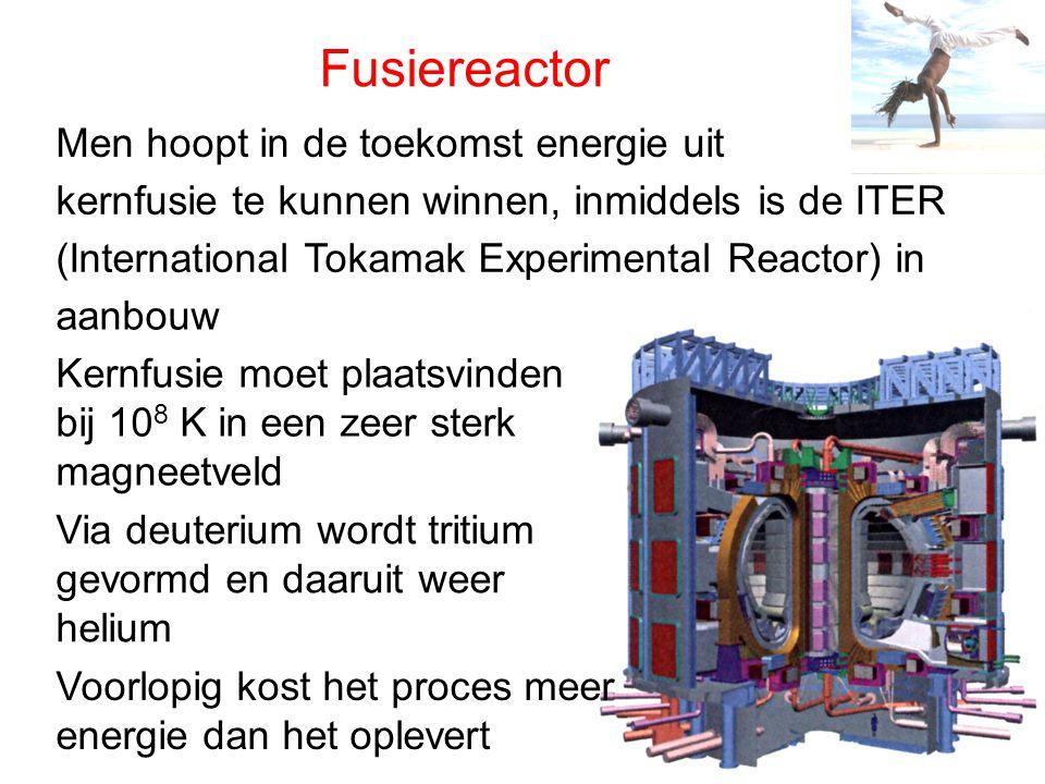 Fusiereactor Men hoopt in de toekomst energie uit kernfusie te kunnen winnen, inmiddels is de ITER (International Tokamak Experimental Reactor) in aan