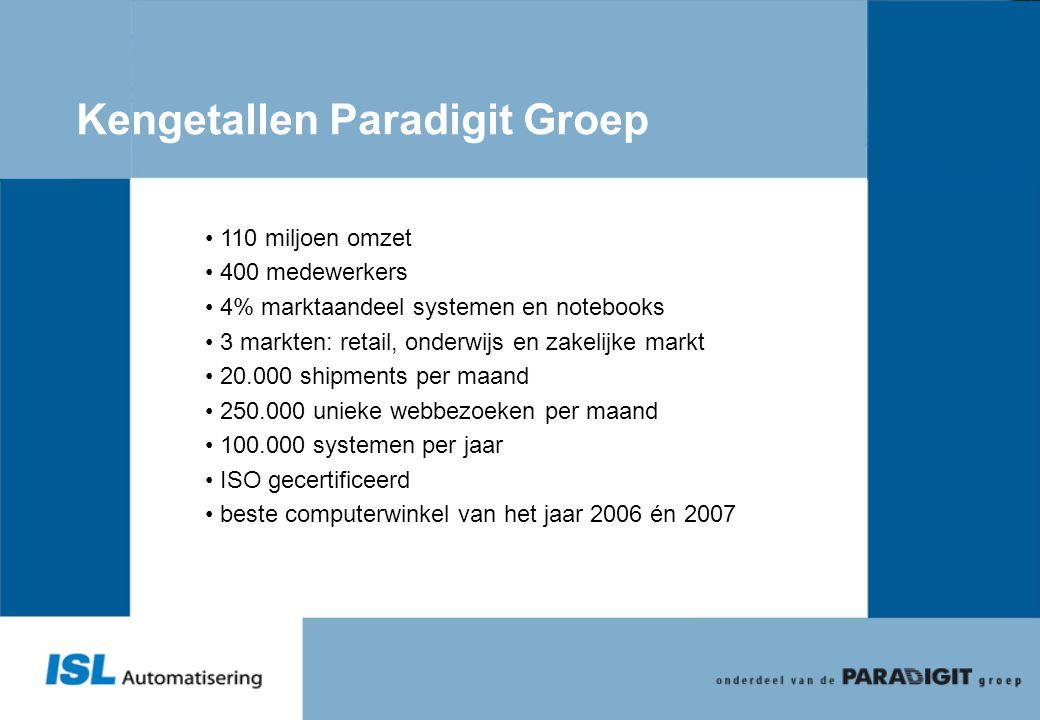 Kengetallen Paradigit Groep • 110 miljoen omzet • 400 medewerkers • 4% marktaandeel systemen en notebooks • 3 markten: retail, onderwijs en zakelijke
