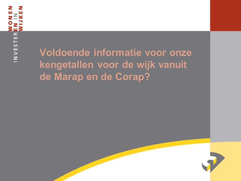 Voldoende informatie voor onze kengetallen voor de wijk vanuit de Marap en de Corap?