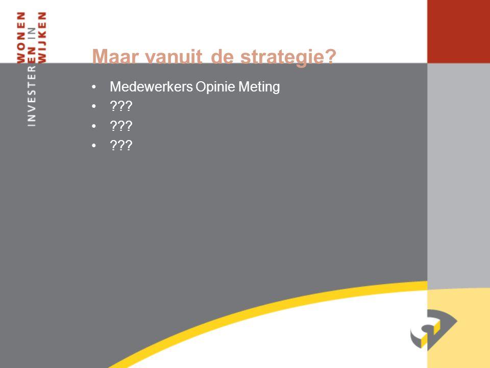 Maar vanuit de strategie? •Medewerkers Opinie Meting •???