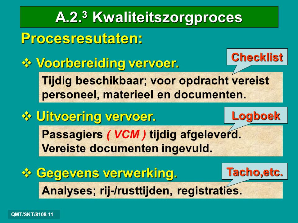 QMT/SKT/8108-11 Procesresutaten:  V V V Voorbereiding vervoer.