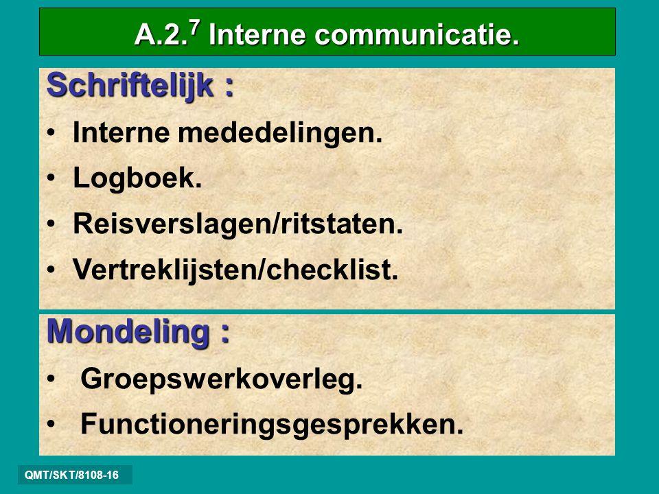 QMT/SKT/8108-16 Schriftelijk : • Interne mededelingen.