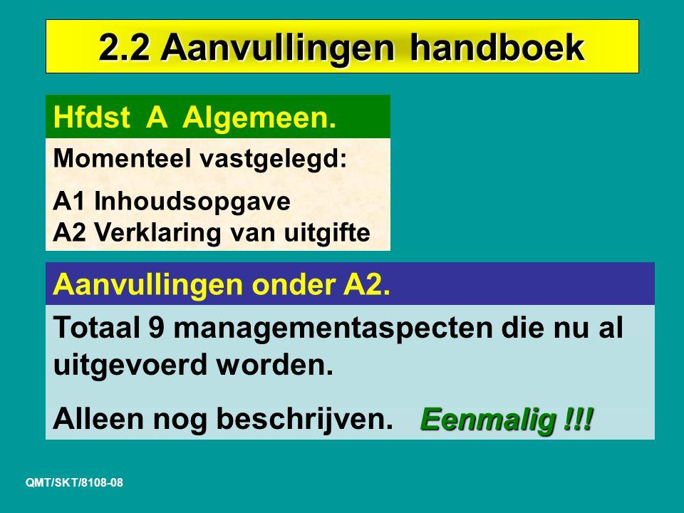2.2 Aanvullingen handboek QMT/SKT/8108-08 Hfdst A Algemeen.