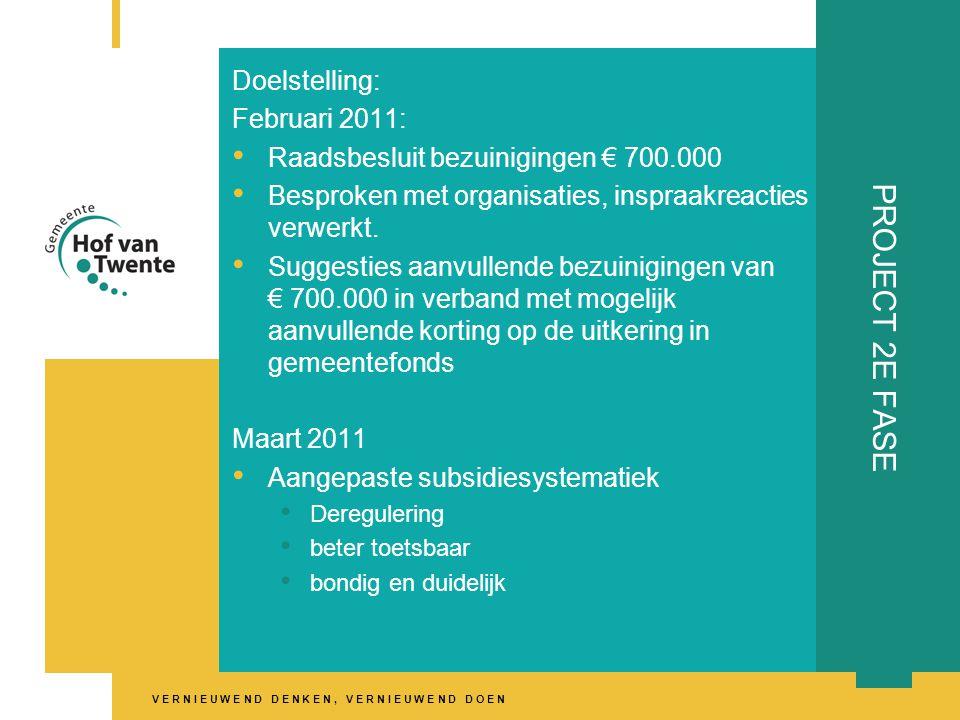 V E R N I E U W E N D D E N K E N, V E R N I E U W E N D D O E N PROJECT 2E FASE Doelstelling: Februari 2011: • Raadsbesluit bezuinigingen € 700.000 • Besproken met organisaties, inspraakreacties verwerkt.