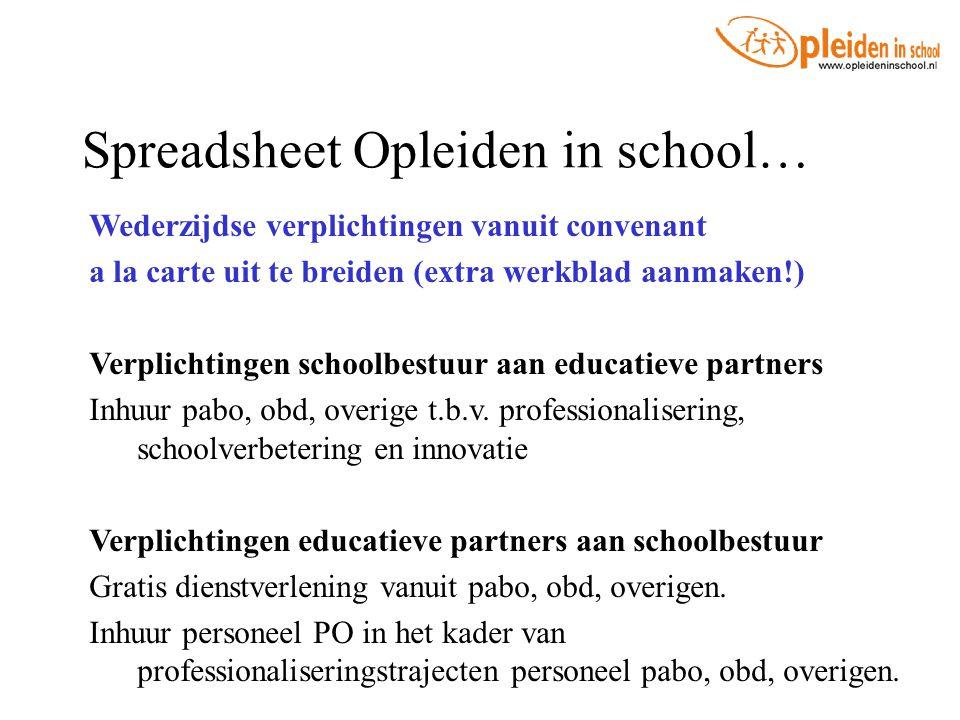 Spreadsheet Opleiden in school… Wederzijdse verplichtingen vanuit convenant a la carte uit te breiden (extra werkblad aanmaken!) Verplichtingen school