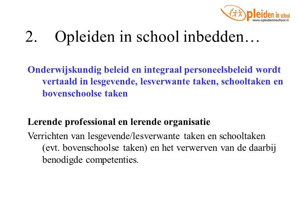 2.Opleiden in school inbedden… Onderwijskundig beleid en integraal personeelsbeleid wordt vertaald in lesgevende, lesverwante taken, schooltaken en bo