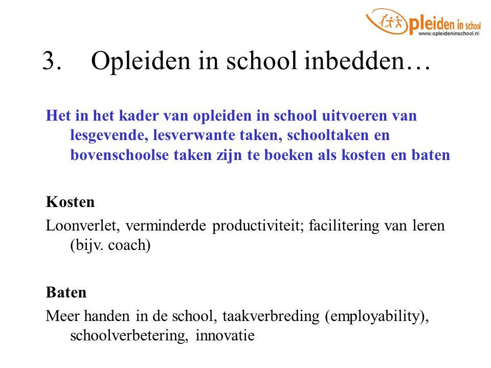 3.Opleiden in school inbedden… Het in het kader van opleiden in school uitvoeren van lesgevende, lesverwante taken, schooltaken en bovenschoolse taken