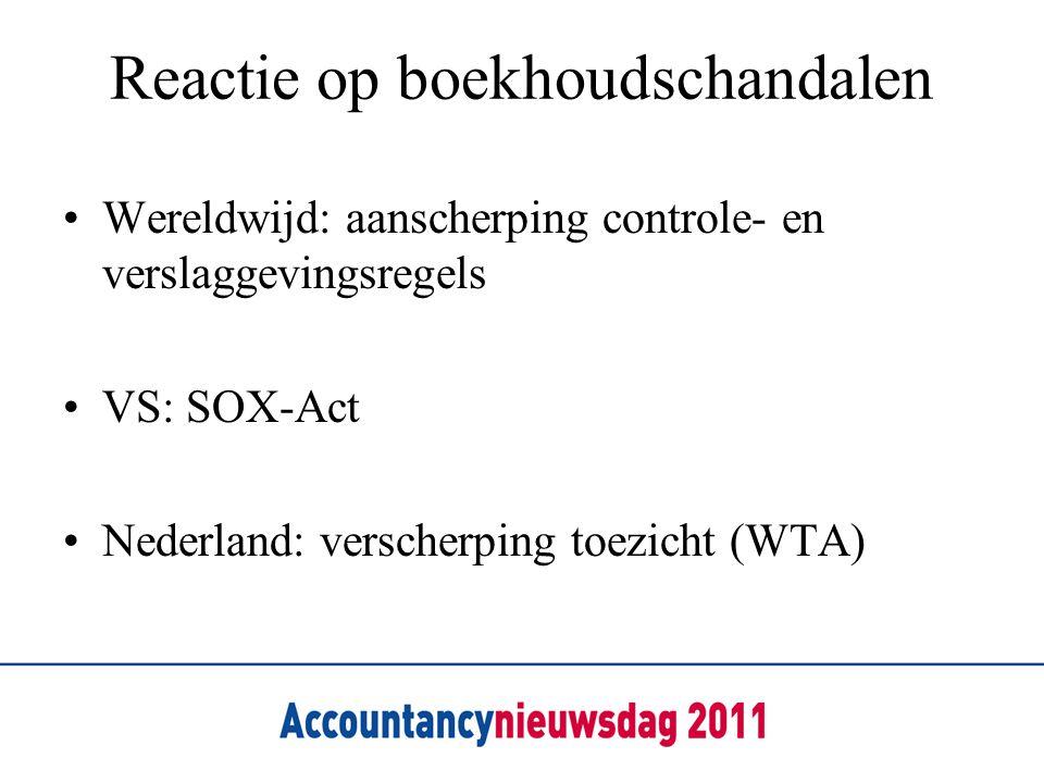 Reactie op boekhoudschandalen •Wereldwijd: aanscherping controle- en verslaggevingsregels •VS: SOX-Act •Nederland: verscherping toezicht (WTA)