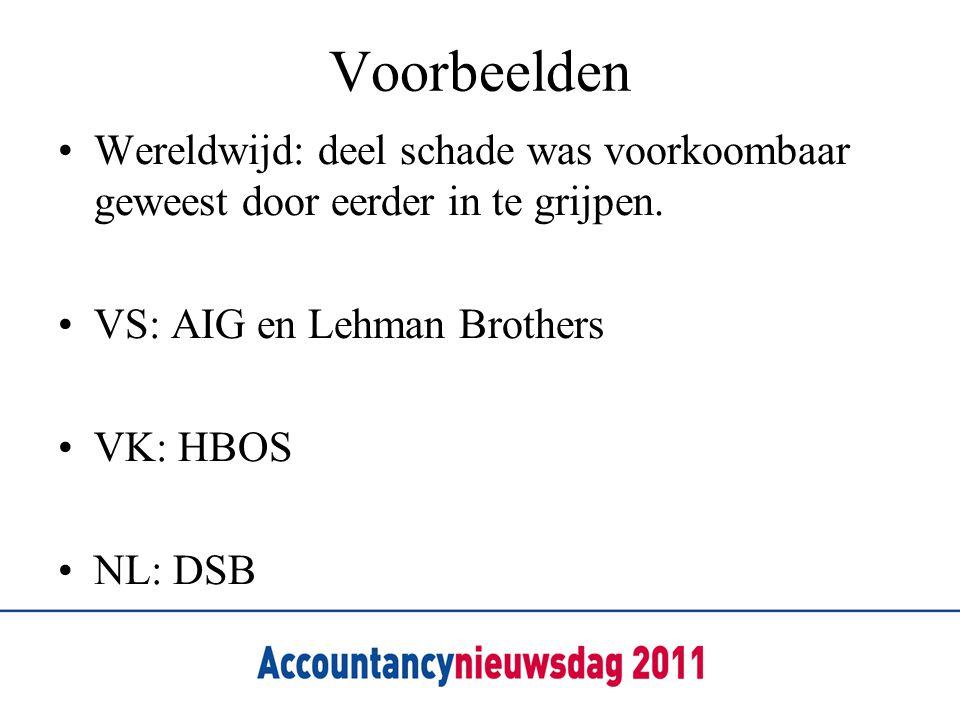 Voorbeelden •Wereldwijd: deel schade was voorkoombaar geweest door eerder in te grijpen. •VS: AIG en Lehman Brothers •VK: HBOS •NL: DSB