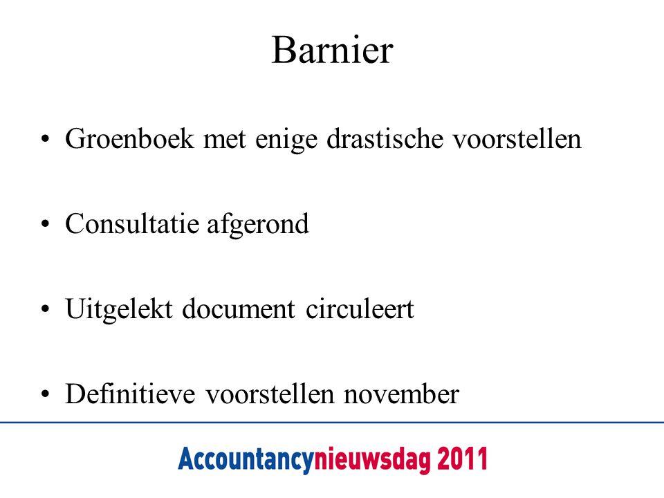 Barnier •Groenboek met enige drastische voorstellen •Consultatie afgerond •Uitgelekt document circuleert •Definitieve voorstellen november