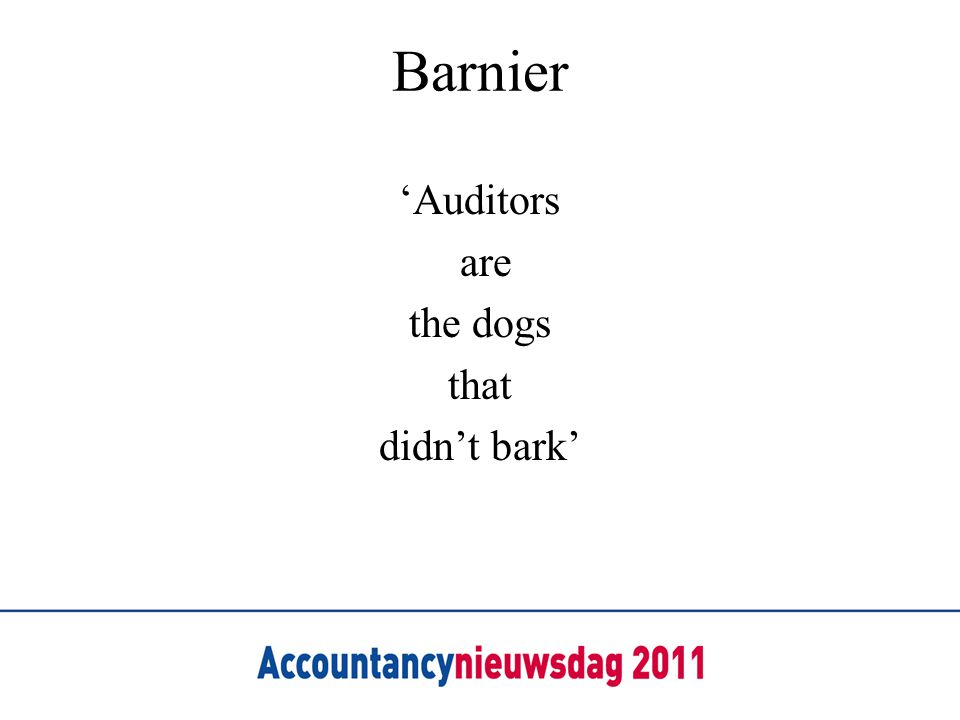 Barnier 'Auditors are the dogs that didn't bark'