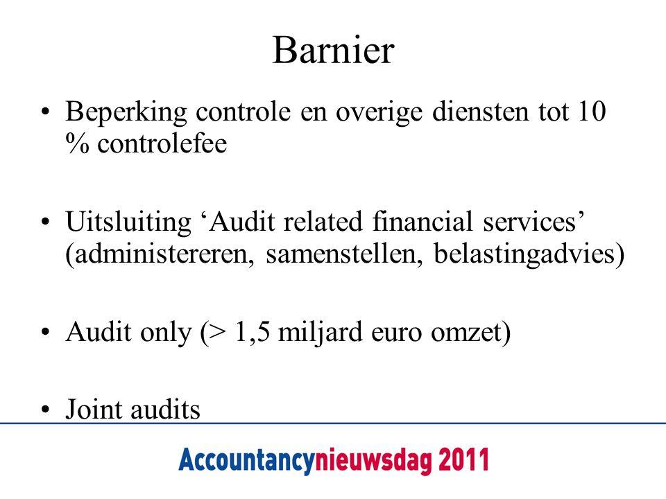 Barnier •Beperking controle en overige diensten tot 10 % controlefee •Uitsluiting 'Audit related financial services' (administereren, samenstellen, be
