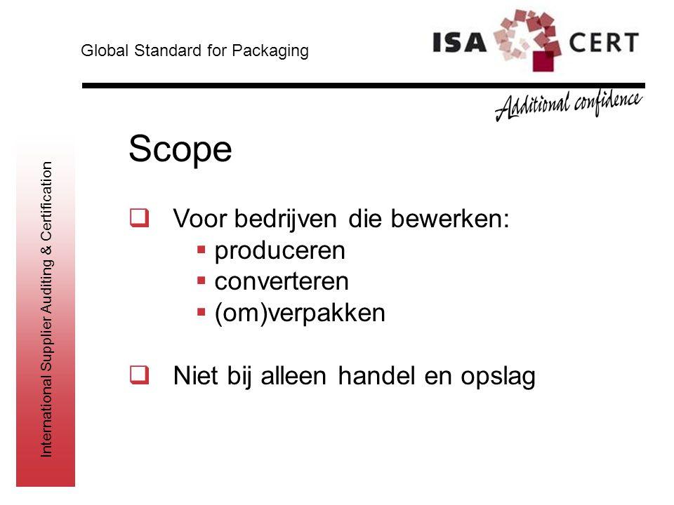 International Supplier Auditing & Certification Scope  Voor bedrijven die bewerken:  produceren  converteren  (om)verpakken  Niet bij alleen hand