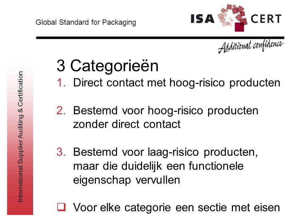 International Supplier Auditing & Certification 3 Categorieën 1.Direct contact met hoog-risico producten 2.Bestemd voor hoog-risico producten zonder d