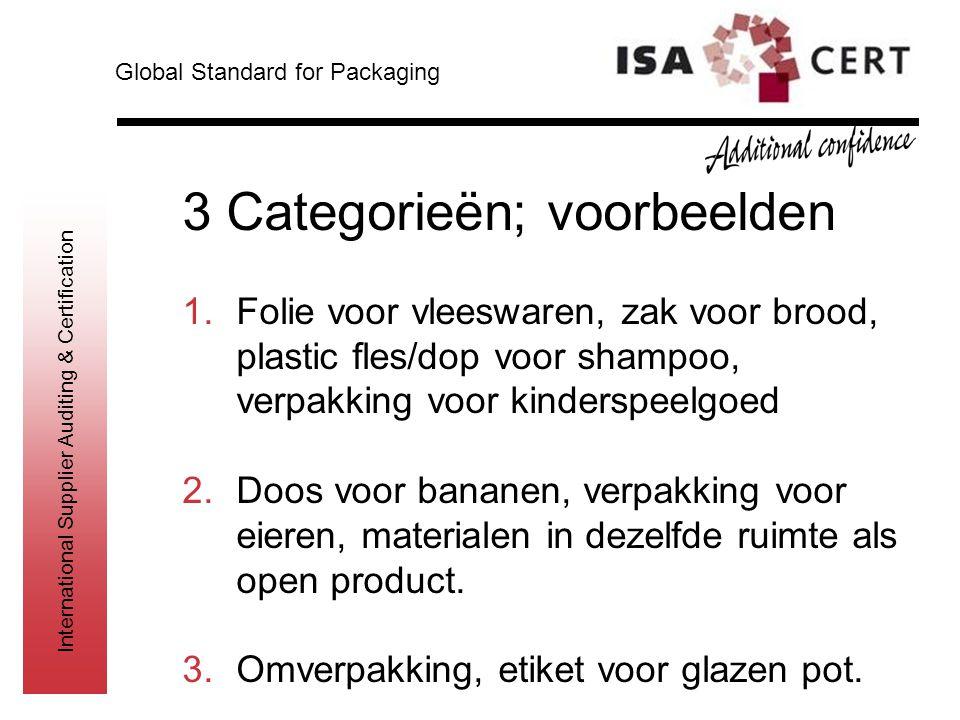 International Supplier Auditing & Certification 3 Categorieën; voorbeelden 1.Folie voor vleeswaren, zak voor brood, plastic fles/dop voor shampoo, ver