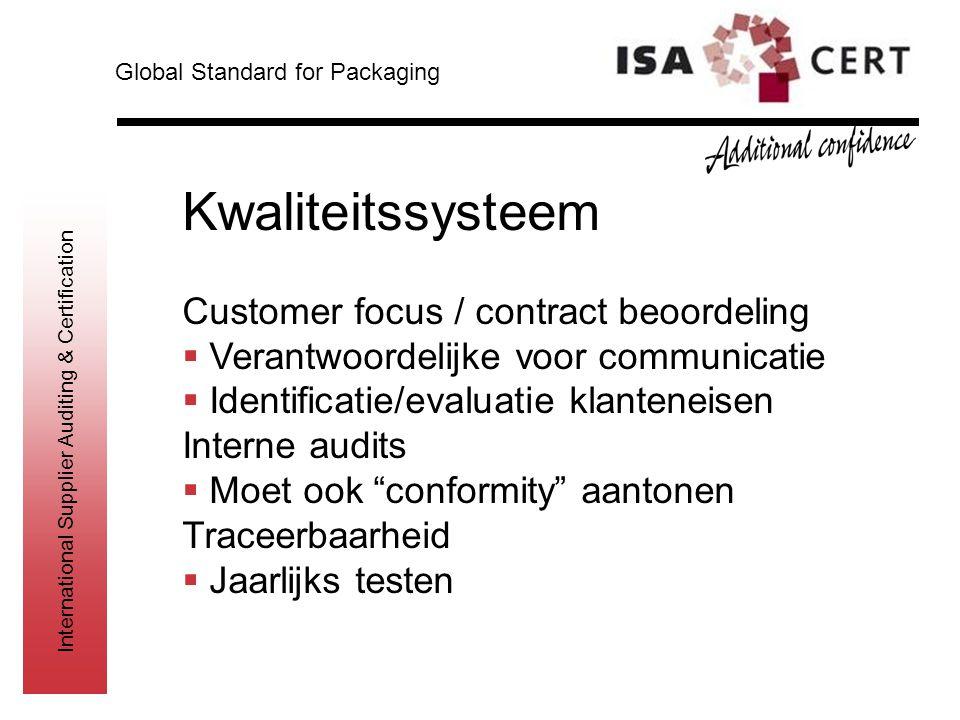 International Supplier Auditing & Certification Kwaliteitssysteem Customer focus / contract beoordeling  Verantwoordelijke voor communicatie  Identi