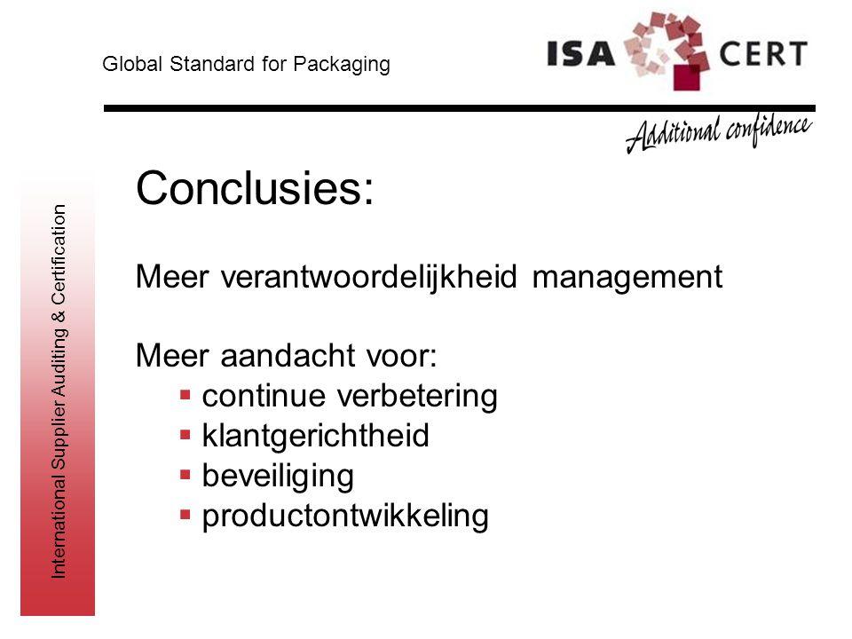International Supplier Auditing & Certification Conclusies: Meer verantwoordelijkheid management Meer aandacht voor:  continue verbetering  klantger